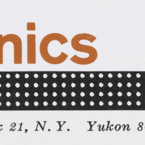 "Business card for Lightronics.  ""lightronics"" appears in red-orange at upper center.  Stretching from below the ""r"" to the right edge of the card is a black horizontal bar studded with six rows of white dots, suggesting rows of lights. Below, printed address in black. Printed black text at bottom right."