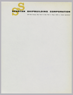 "Letterhead for Spartan Shipbuilding Corporation. Company name printed in black across top of the page. Insignia, formed from two yellow ""S""s joined at the head and foot serifs printed underneath ""SPARTAN"".  Address follows beneath printed in black."