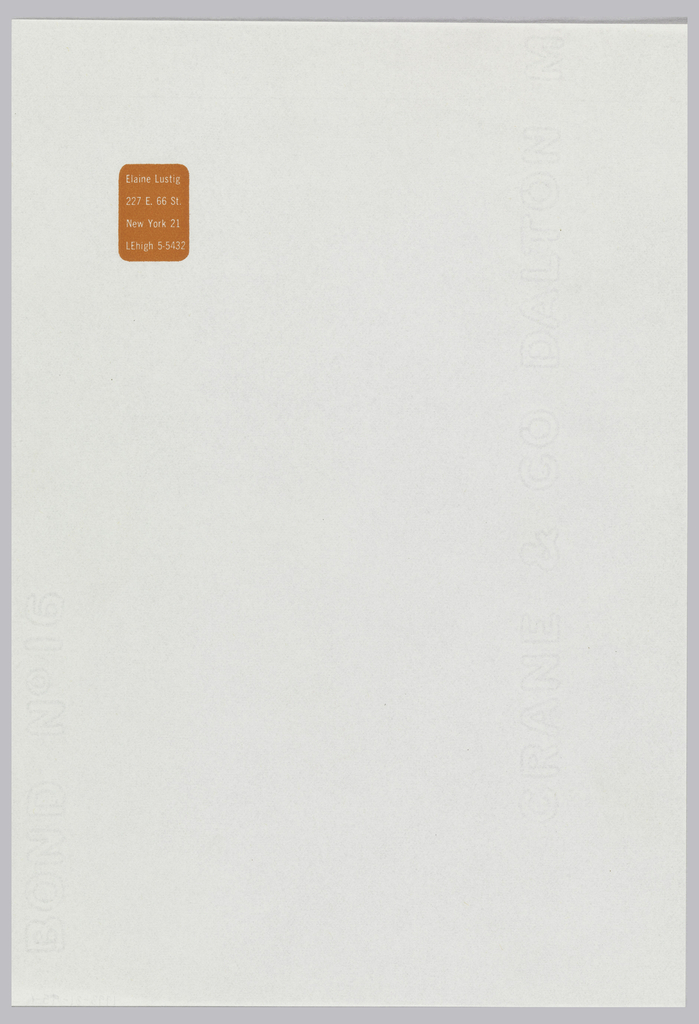 Elaine Lustig letterhead with orange print on white ground. Printed name and address appear centered in the upper left corner, solid fill box of deep orange with rounded corners.  Paper is translucent, watermarked along right side.