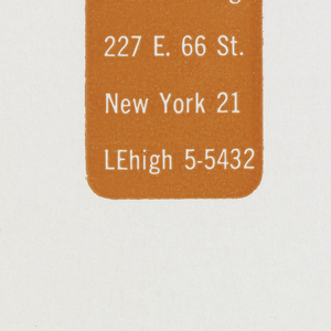 White mailing label for Elaine Lustig stationery with orange print. Orange rectangle with rounded corners at left contains name and address. White lettering within orange background at left center.