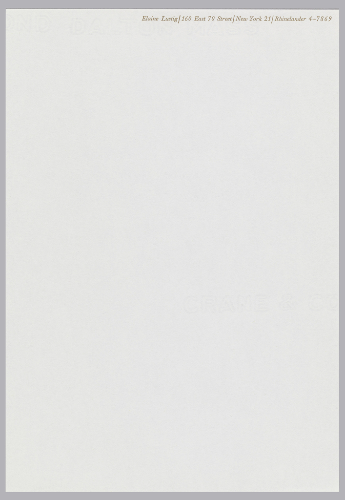 Elaine Lustig letterhead with light brown printed text at upper right on ivory ground.