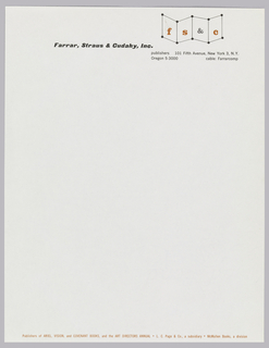 Letterhead for Farrar, Straus & Cudahy, Inc., publishers.  Company name, printed in black, appears off center towards top of the page.  Logo, a series of dots and lines forming angled planes of space with F, S, &, and C centered on each, is situated top left, address underneath.  Line of printed text, in orange, along bottom of page.