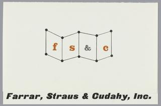 Business Card, Farrar, Straus & Cudahy, Inc.