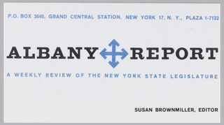 "Business card for the Albany Report, Inc. Blue insignia at center, centered between ""ALBANY REPORT"" in bold black text, four arrows in a minimalist form of compass rose. Blue printed text above and below, black printed text at lower right."