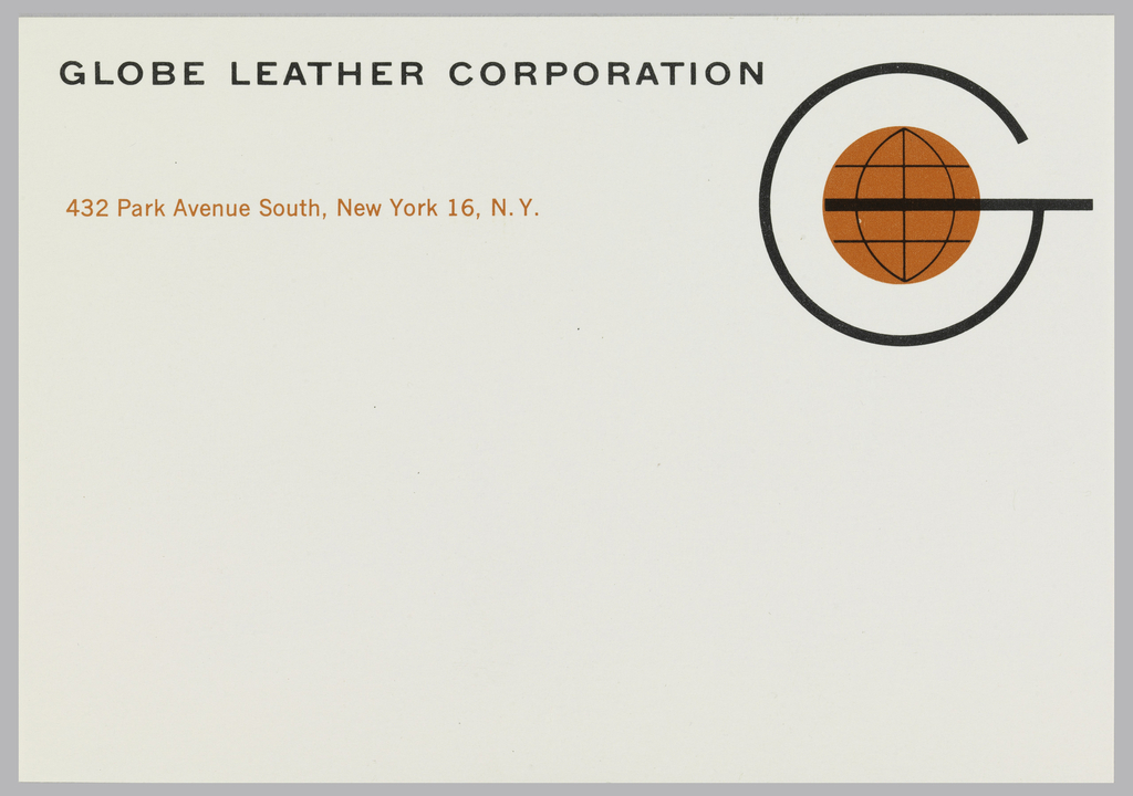 """Mailing label for Globe Leather Corporation, black and orange print on white ground.  Company name appears at top, aligned left in black capital letters.  Address in orange below. Company logo at upper right, capital black """"G"""" with an orange globe in the center, latitude and longitude lines, the equator integrated into the central cross-stroke of the """"G""""."""
