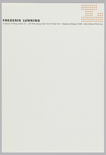"Letterhead for Frederik Lunning, black and orange print on white ground. Company logo at upper right, a large letter ""L"" made up of orange dots. At upper left, printed in the black, company name, and below, spanning the width of the page, the address."