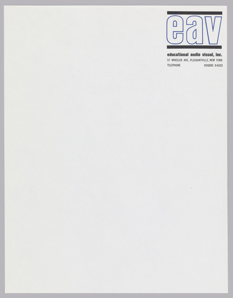 Company letterhead for Educational Audio Visual, Inc. Monogram (EAV) outlined in blue between two black bars appears on white page at top right.  Address follows underneath, in black.