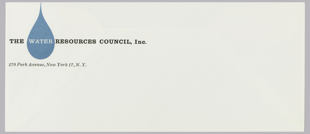 "Ivory stationery, envelope for the Water Resources Council, Inc.  Features company name in black and white text, ""WATER"" printed in white within a blue waterdrop at upper left. Address follows underneath, in black."