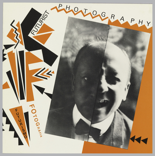 Exhibition announcement for Ex Libris, square format. Black and orange geometric designs on front and back covers. On front cover, at right, two black and white photoillustrations depicting the face of a male figure, split vertically in half so that at left his expression is serious and at right he is laughing. Printed text in black and orange throughout. On inside cover, images of photographs from the exhibition.