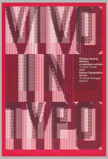 "Poster featuring the text ""VIVO IN TYPO"" composed of red, black and white computer-generated punctuation marks. Additional text with details of exhibition printed in white at the right hand side."