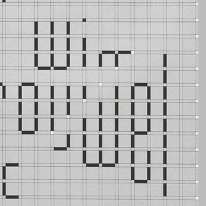 "Poster featuring the text ""design museum/ Wim/ Crouwel/ a graphic/ odyssey/ 30.03 - 03.07 2001"" printed in black with white dots arranged against a light gray background and darker gray grid."