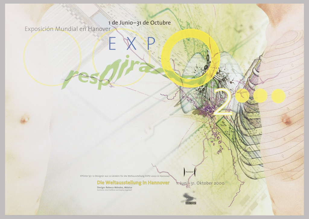 "Landscape oriented poster of illustrated human torso and rib cage in profile shown against backdrop of illustrated map.  Yellow ""0"" and ""o"" forms echo across the page."