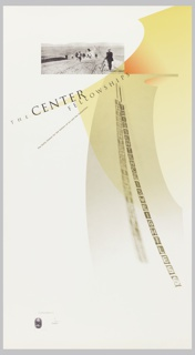 """A collage composition combining an archival photograph at upper left and beneath that a diagonal band of type running from left edge to center, """"The Center Fellowships"""" from which dangles an image of a sculpture by George Brecht, """"This Sentence is Weightless,"""" and its shadow superimposed on two arc-shaped bands of yellow running vertically and diagonally at right. On verso, a close-up of the letter """"H"""" with text surrounding it on upper, left, and lower edges."""