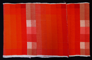 Sample color blanket in shades of red.