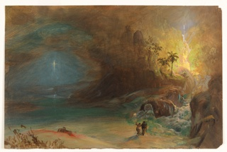 Recto: Horizontal view of two figures, at lower right, observe an illuminated cross or star in the darkness, at left, as a stream cascades down from rocky pinnacles, in the middleground at center, past two palm trees to merge with a lake at right.  Verso: Sketches for a frame [?], some writing.