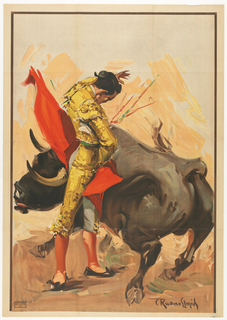 A bullfighter dressed in a traditional yellow 'torero' outfit, swaying a red cape in a fighting scene with a black bull.