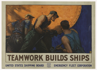 Poster features steelworkers bolting the hull of a ship together.