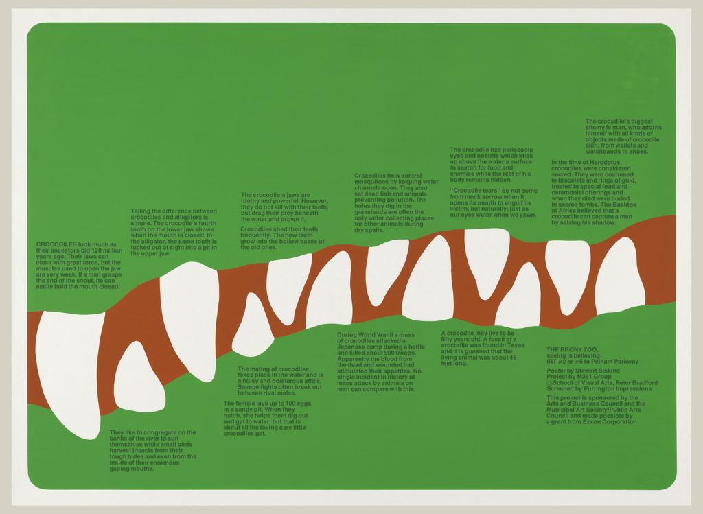 Poster is bright green with line of teeth through center; as though a crocodile takes up the rest of surface. Dark green text in small blocks line the teeth.