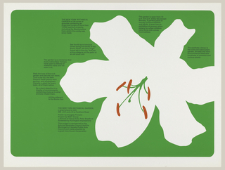 White flower on green ground with surrounding blocks of text in black ink.
