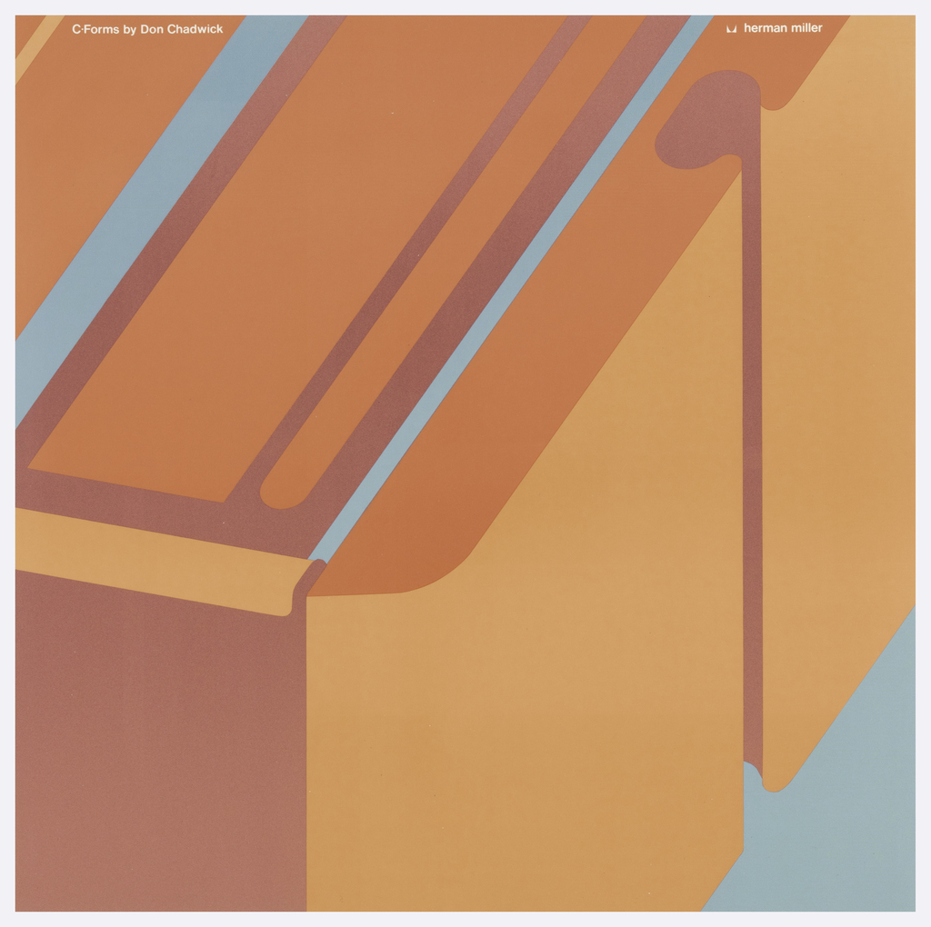 In light blue and orange, close-up of a piece of furniture; possibly back of a chair. Text in white ink: C-Forms by Don Chadwick; herman miller.