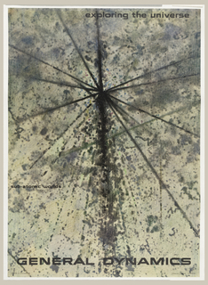 Poster depicts what looks like a black paint splatter in a crisscrossing pattern on beige and tan ground. Upper right: exploring the universe; lower margin: GENERAL DYNAMICS.