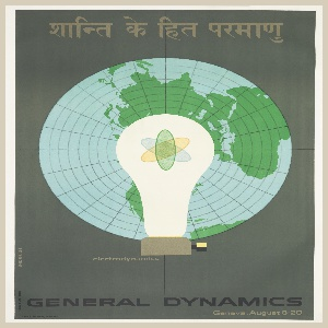 Poster depicts a globe from the top on a dark gray ground, surmounted by a light bulb with an atomic symbol inside. Printed in light brown, upper margin: Hindi script; center, underneath lightbulb: electrodynamics; in black, lower margin: GENERAL DYNAMICS.