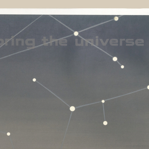 Poster depicts a bright white circle containing a red circle on a ground of gray; above white constellations and below, wavy black lines; lower margin: GENERAL DYNAMICS.