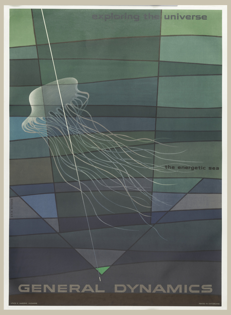 Poster depicts white abstract jellyfish form on a ground of blocks of greens, blues, and grays; a white line crosses the jellyfish from the top to the bottom. Below, in a black margin: GENERAL DYNAMICS.; in white, lower right: sandmarg.