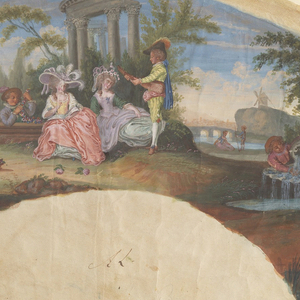 Waterside scene of women and musicians in front of ruins, aqueduct and windmill; verso: a seated woman with a young man in a landscape.