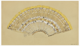 Unmounted pleated fan leaf, silk net with spangles, pressed metal, paste jewels and metal foil in stylized floral design. Yellow silk fringe along upper edge.