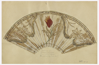 Unmounted pleated fan leaf, embroidered with silk and metallic yarns in the shape of a tulip, sequins.