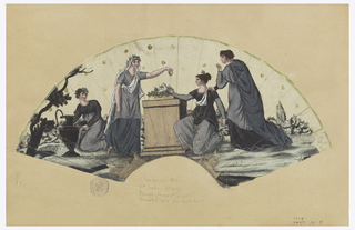Unmounted pleated fan leaf, hand-colored etching on paper showing figures in mourning, scattered sequins.