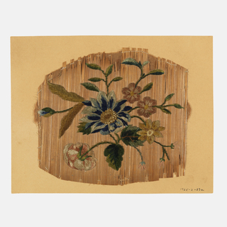 Unmounted handscreen leaf. Design of flowers embroidered in chenille yarns on woven straw.