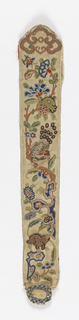One side of a fan case, embroidered in polychrome silks and metal thread (principally knot stitches) in design showing a butterfly, a bird, and an animal with floral ornament. Lined.