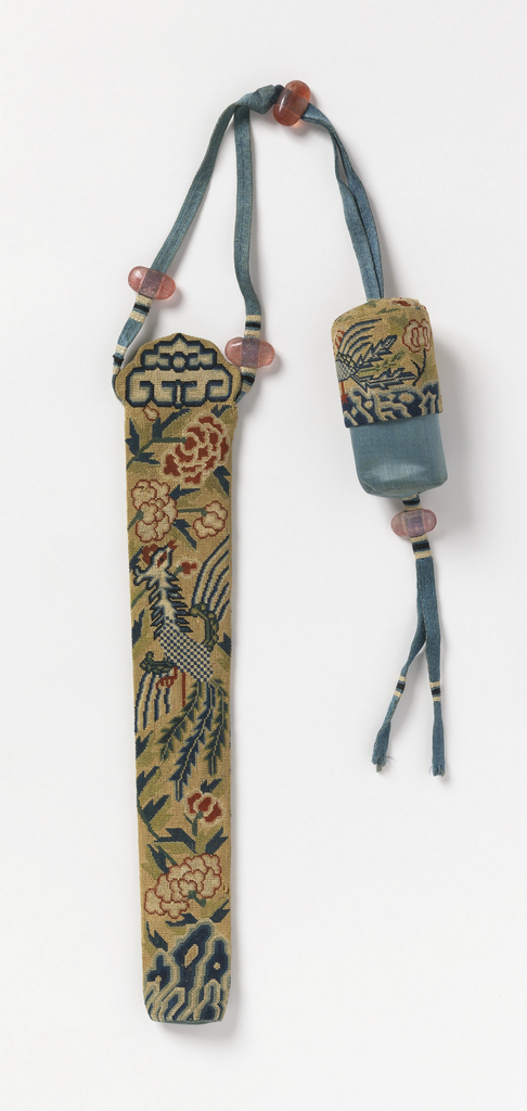 Long narrow case for a fan and small canvas circular bag embroidered in tent stitch in design of birds and flowers. Blue satin linings, blue ribbons with pink glass beads join the two objects.