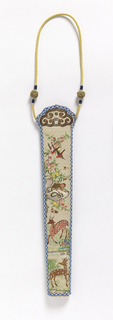 Fan case. Silk embroidery with silk and metallic threads in design of flowers, deer and birds. The other side, flowers and birds. Edges bound with blue and white braid. Yellow silk cord with knots at top.