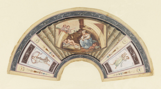 Fan leaf. Parchment painted in the neoclassical taste. Obverse: grisaille border of swans with swags. Three center panels divided by trompe-l'oeil pleats and smoking brazier motifs. At center, within a bead-like border, a woman with sleeping nude children within a broken arch. At either side, dancing figures in the style of Roman frescos beneath bull skulls and swags.