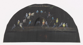 Fan leaf. Black silk painted with gouache showing a large group of birds fishing off a bridge with bird spectators in a row above.