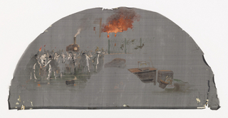 Painted black fan leaf showing a group of figures in Pierrot costume, with flames.
