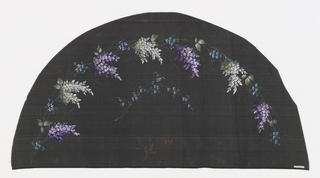 Black fan leaf painted with gouache showing sprays of purple and white lilac flowers.