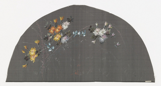 Black leaf painted with gouache showing flowers and birds.