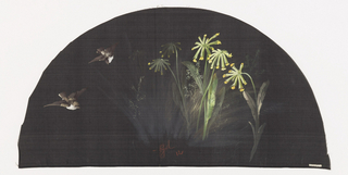 Black fan leaf painted with gouache showing two birds in flight with yellow flowers.