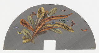 Black fan leaf painted with gouache showing feathers and butterflies.