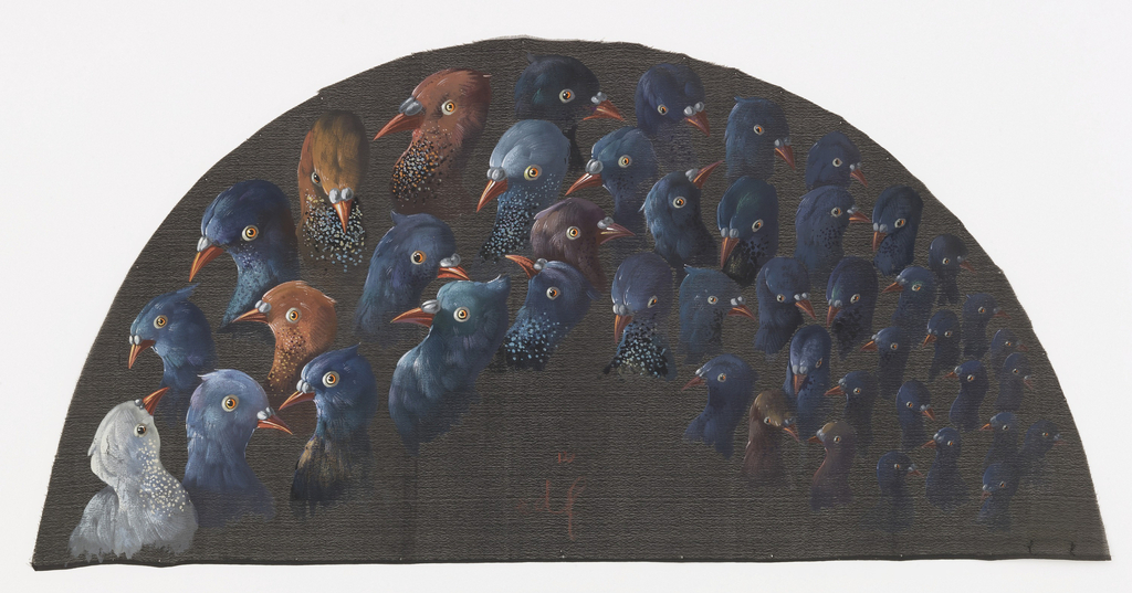 Black fan leaf painted with gouache showing 45 pigeon heads decreasing in size from left to right.
