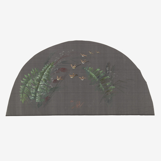 Black fan leaf painted with gouache showing birds in flight with ferns to the right and left.
