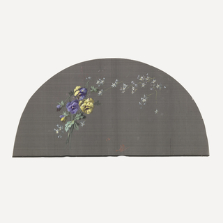 Black fan leaf painted with gouache showing pansies and white flowers.