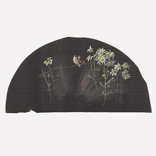 Black fan leaf painted with gouache showing daisies and pair of birds.