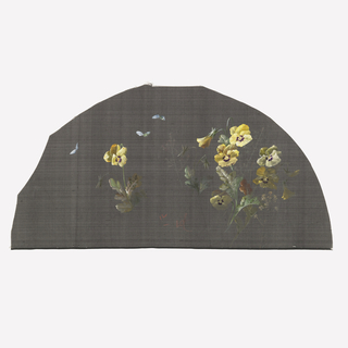 Black fan leaf painted with gouache showing yellow pansies with small white butterflies.
