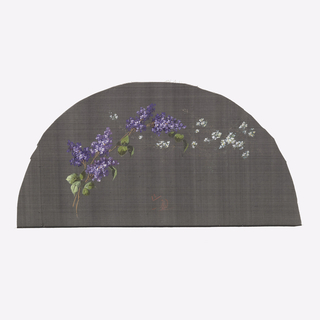 Black fan leaf painted with gouache showing lilac branches with scattered white flowers.