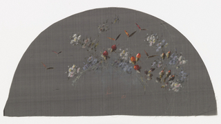 Black fan leaf painted with gouache showing insects in flight with purple flowers and orange buds.